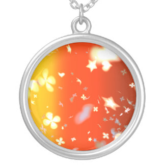 A colourful pattern silver plated necklace