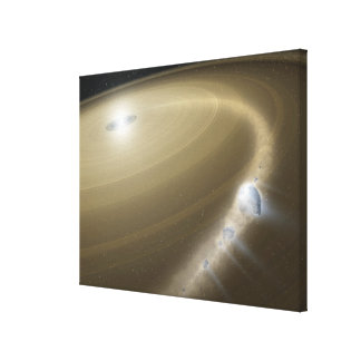 A comet being torn to shreds around a dead star canvas print