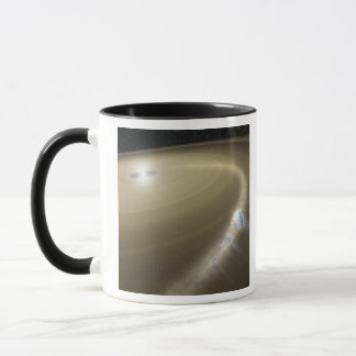 A comet being torn to shreds around a dead star mug