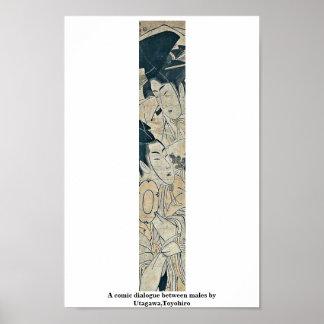 A comic dialogue between males by Utagawa,Toyohiro Posters