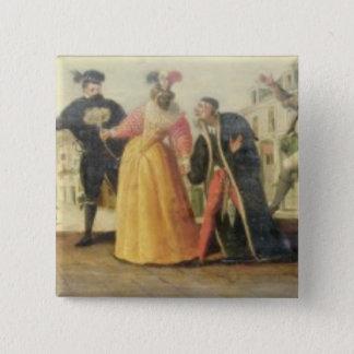 A Commedia Dell'Arte Troupe Before a Renaissance T Button