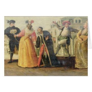 A Commedia Dell'Arte Troupe Before a Renaissance T Card