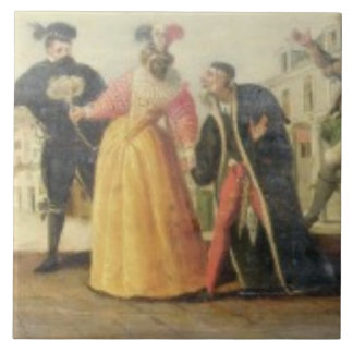 A Commedia Dell'Arte Troupe Before a Renaissance T Ceramic Tile