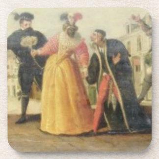 A Commedia Dell'Arte Troupe Before a Renaissance T Drink Coaster