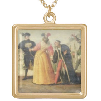 A Commedia Dell'Arte Troupe Before a Renaissance T Gold Plated Necklace