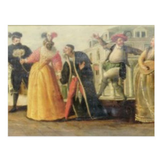 A Commedia Dell'Arte Troupe Before a Renaissance T Postcard