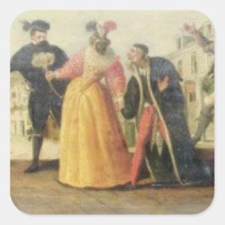 A Commedia Dell'Arte Troupe Before a Renaissance T Square Sticker