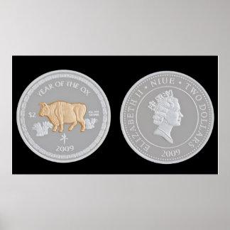 A commemorative silver coin poster
