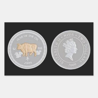A commemorative silver coin rectangular sticker