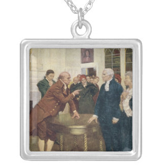 A Committee of Patriots Delivering an Ultimatum Silver Plated Necklace