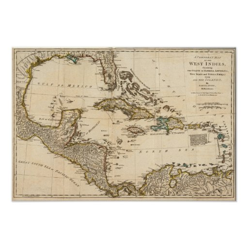 A Compleat Map of the West Indies Poster