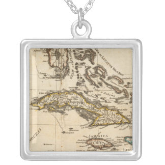 A Compleat Map of the West Indies Square Pendant Necklace