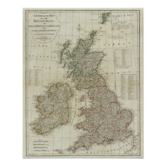 A complete map of the British Isles Poster