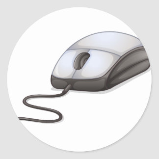 A computer mouse classic round sticker