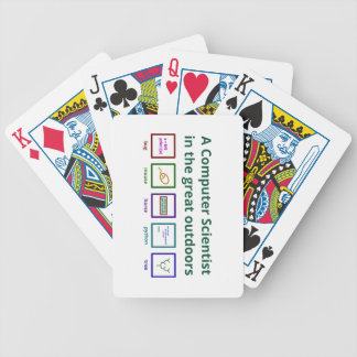 A computer scientist in the great outdoors bicycle playing cards