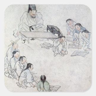 A Confucian Classroom (Sodang) (colour print) Square Sticker