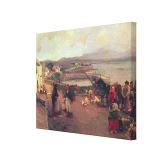 A Connemara Village - The Way To The Harbour, 1898 Canvas Print