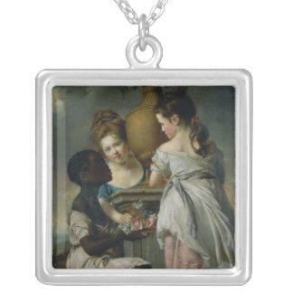 A Conversation between Girls, or Two Girls Silver Plated Necklace