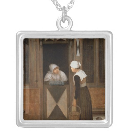 A Conversation in the Street Square Pendant Necklace