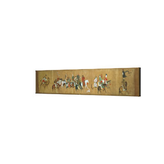 A convoy of Mongols, Chinese, 14th century Canvas Print