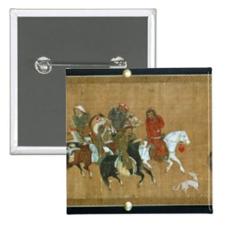 A convoy of Mongols, Chinese, 14th century Pinback Button