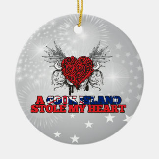 A Cook Island Stole my Heart Double-Sided Ceramic Round Christmas Ornament