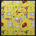"A Cook&#39;s Kitchen Cloth Napkin<br><div class=""desc"">Everything on this design any good cook will recognize. Wisk,  stand mixer,  cleaver,   eggs,  milk,  sugar,  chef&#39;s hat,  pans,  grinder,  and others are pictured here on a sunny yellow background. A very bright and cheery design.</div>"