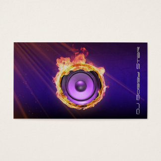 A cool blue flame DJ speaker business card