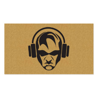 A cool cardboard DJ face icon business card