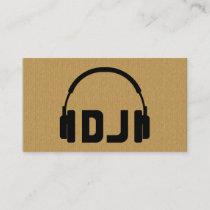A cool cardboard DJ headphone icon business card