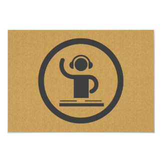 A cool cardboard DJ icon party logo 3.5x5 Paper Invitation Card