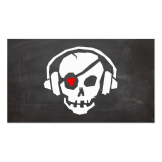 A cool grey DJ Skull love Icon business card