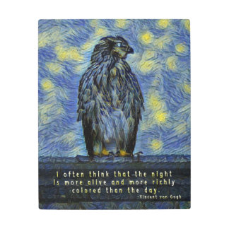 A Cooper's Hawk on a Roof on a Starry Night Metal Print
