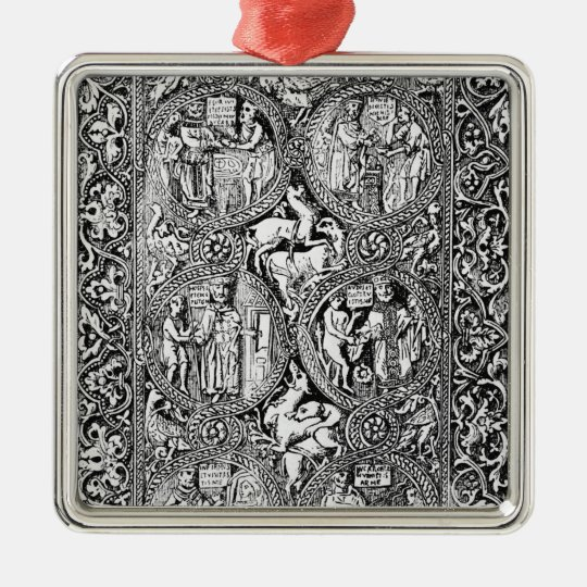 A copy of  ivory back Queen Melisende's Psalter Metal Ornament