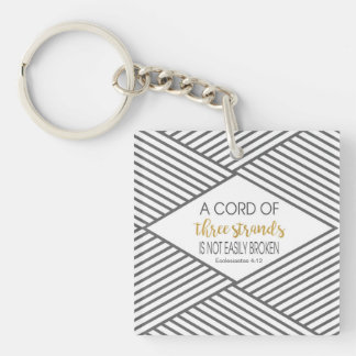 A cord of three strands is not easily broken keychain