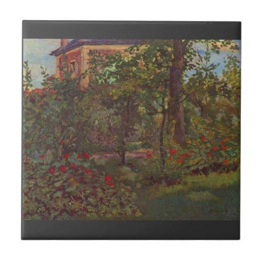 A corner in the garden of Bellevue by Manet Tiles