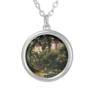 A Corner of the Garden in Rueil by Edouard Manet Round Pendant Necklace