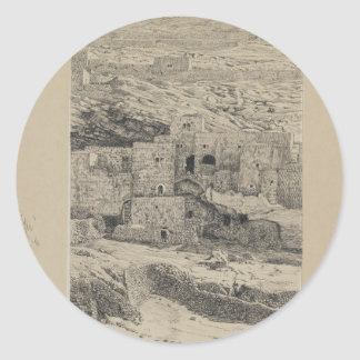 A Corner of the Village of Siloam by James Tissot Classic Round Sticker
