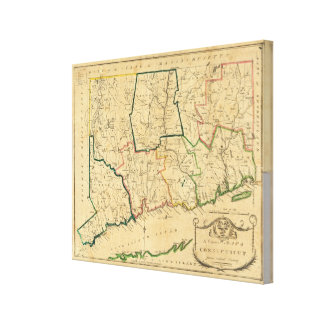 A Correct Map of Connecticut Canvas Print