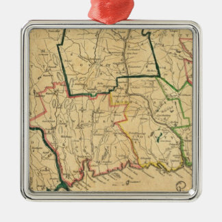 A Correct Map of Connecticut Square Metal Christmas Ornament