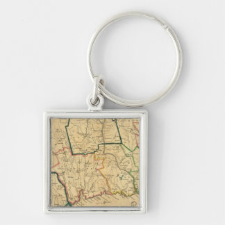 A Correct Map of Connecticut Silver-Colored Square Keychain