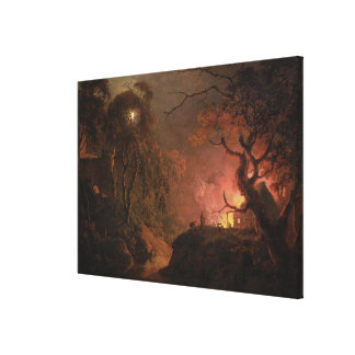 A Cottage on Fire at Night, c.1785-93 (oil on canv Canvas Print
