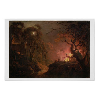 A Cottage on Fire at Night, c.1785-93 (oil on canv Poster