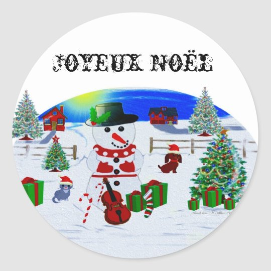 A Country Christmas Classic Round Sticker