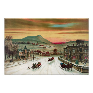 A Country Christmas Scene Posters