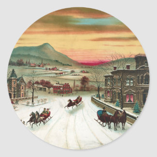 A Country Christmas Scene Sticker