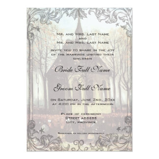 "A country church wedding invitation 5.5"" x 7.5"" invitation card"