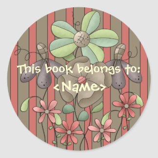 A Country Garden Flowers & Stripes Book Sticker