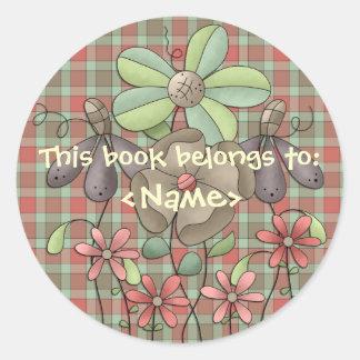 A Country Garden Flowers & Tartan Book Sticker