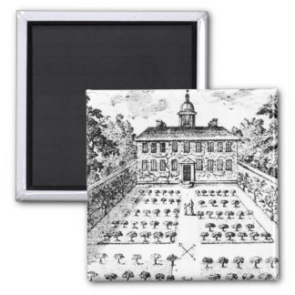 A country house garden, from 'The Gentlemen's Recr 2 Inch Square Magnet